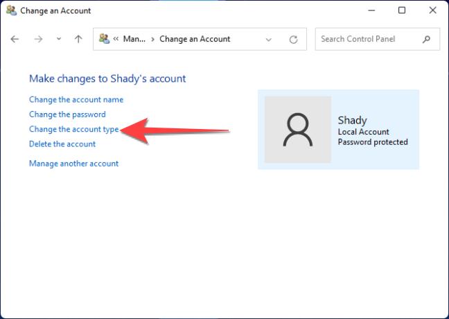 """Quindi, seleziona """"cambia tipo di account""""."""