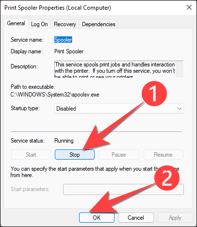 """Select the """"Stop"""" to stop the service and select the """"OK"""" button to apply the changes."""