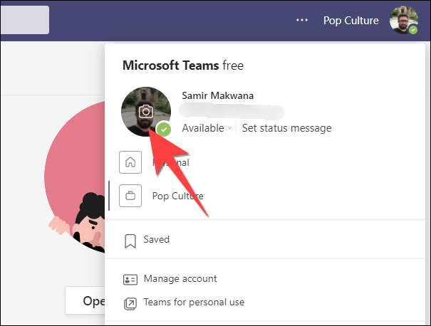 Click on the profile photo from the profile settings drop-down.