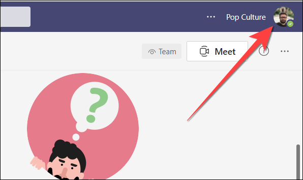 Select profile settings located in the top-right corner of the Microsoft Teams web version.
