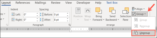 On the Layout tab, click Group, Ungroup