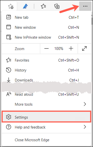Click Settings and More, pick Settings in Edge