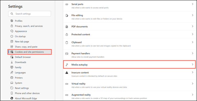 Cookies and Permissions, Media Autoplay