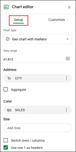 Setup tab to edit the map chart in Google Sheets