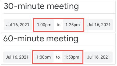 Speedy meeting durations in Google Calendar