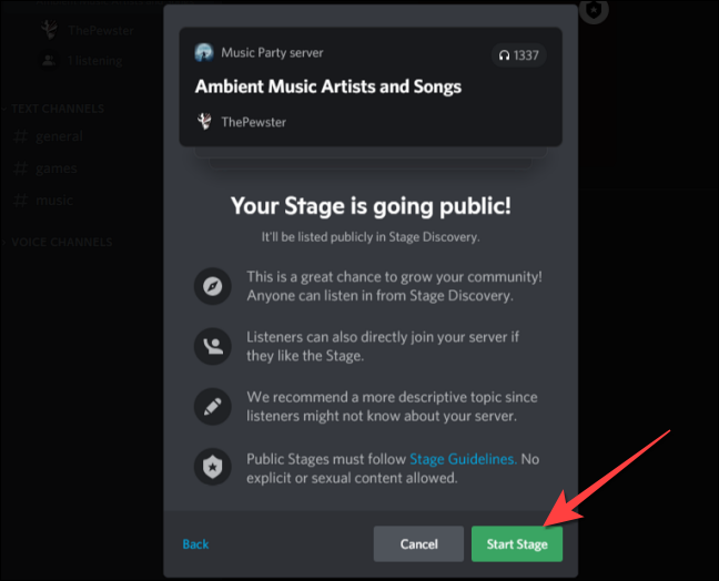 """If you are fine with that, select the """"Start Stage"""" button"""
