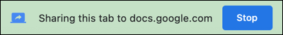 Click Stop to stop presenting a document