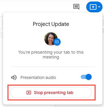 Click Stop Presenting Tab
