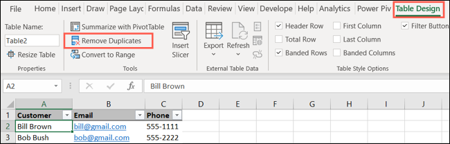 On the Table Design tab, click Remove Duplicates