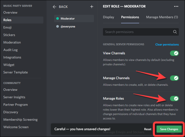 """Toggle on the switch for """"Manage Channels"""" and """"Manage Roles"""" since they're off by default."""