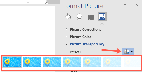 Transparency presets in Word