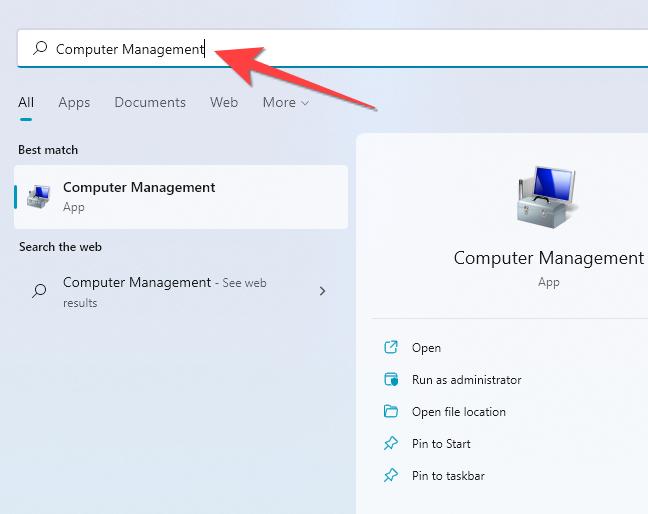 """Fare clic su Start, digitare """"Gestione computer"""" nella ricerca di Windows e premere Invio."""