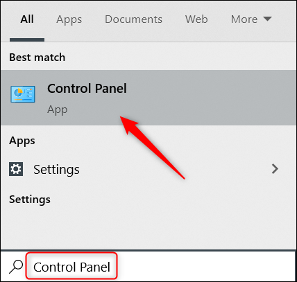 """Type """"Control Panel"""" in the Windows search bar and click the Control Panel."""