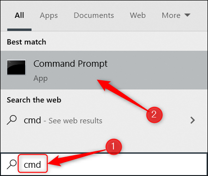 """Type """"cmd"""" in the Windows Search bar and click Command Prompt."""