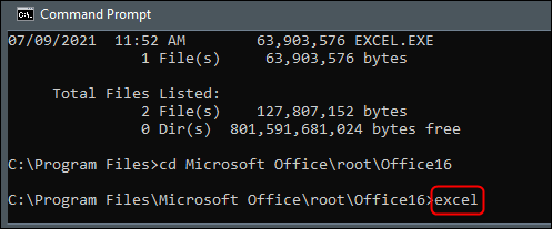 """Type """"excel"""" in Command Prompt."""