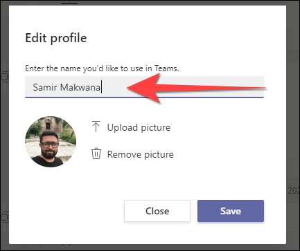 Type your new display name in the text box.