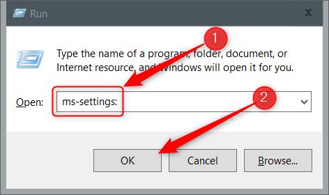 """Type """"ms-settings:"""" in Run."""