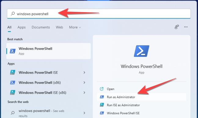 """Dopo aver fatto clic su Start, digita """"Windows PowerShell"""" nella ricerca di Windows e seleziona """"Esegui come amministratore""""."""