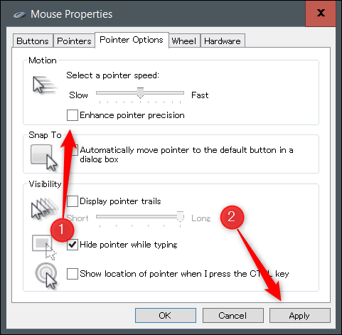 """Uncheck """"Enhance Pointer Precision"""" and click """"Apply."""""""