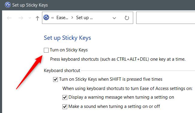 """Uncheck the """"Turn On Sticky Keys"""" option."""