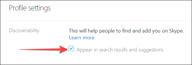 Disable the checkbox for showing your Skype profile in search and suggestions.