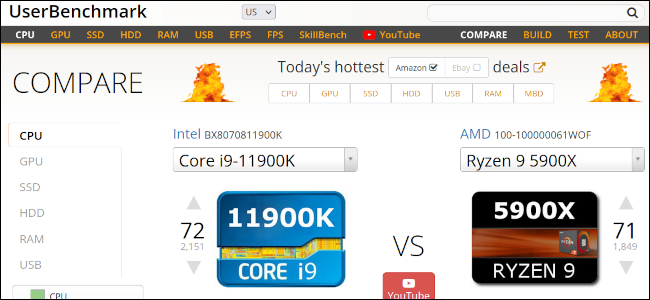 UserBenchmark website comparing an Intel and AMD processor.