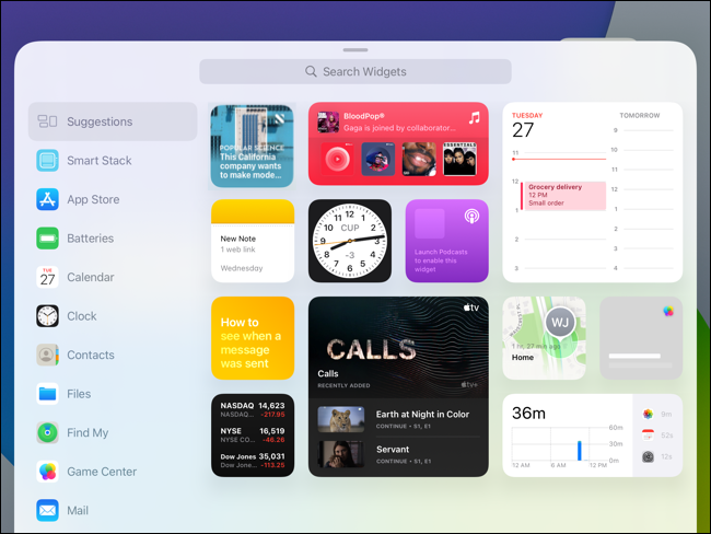 Widget Gallery on iPad