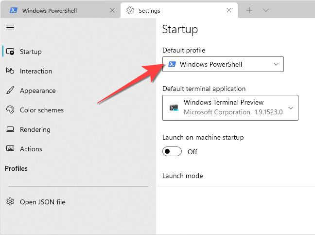 Windows PowerShell as Default Profile in Windows Terminal.