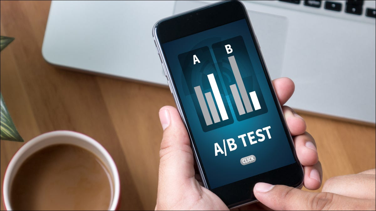 A/B Testing on a Smartphone in Person's Hand