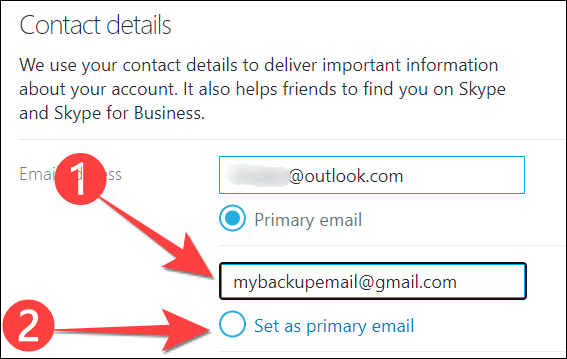 """Type a new email address and select """"Set as primary email"""" option."""