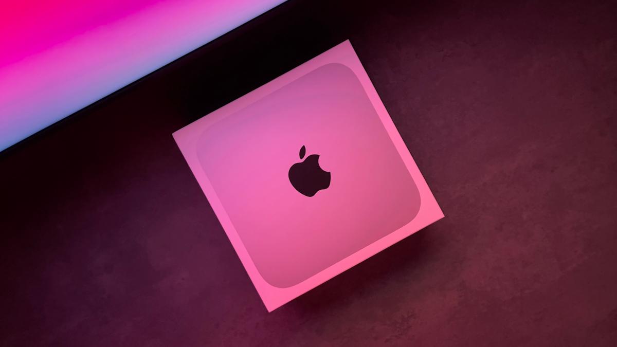 Apple Mac mini in pink light