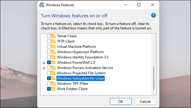 """Enable the """"Windows Subsystem for Linux"""" option and click """"OK."""""""