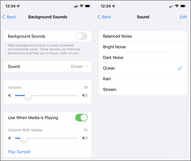 Settings and options for the Background Sounds feature