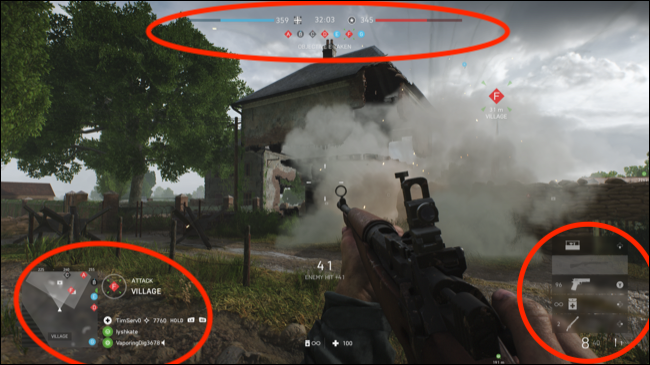 Battlefield V with Static UI Elements Highlighted
