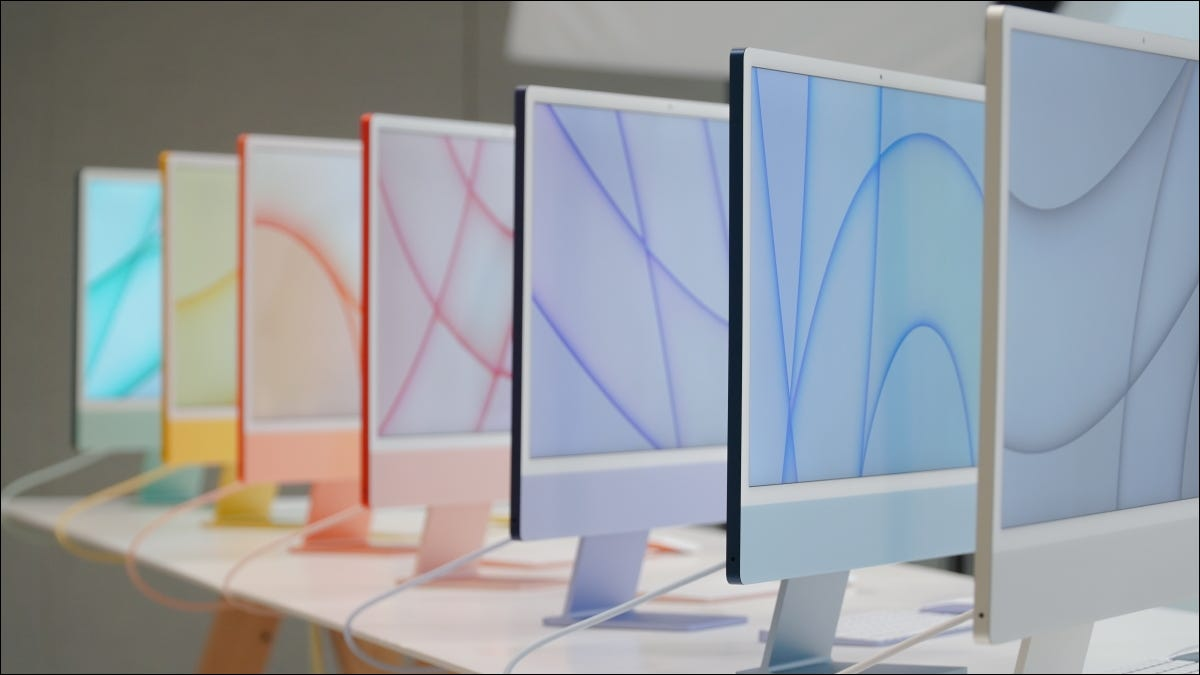 different colored imacs lined up