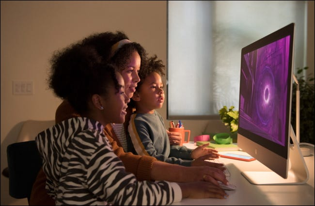 family using imac at home