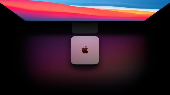 Mac mini in front os screen