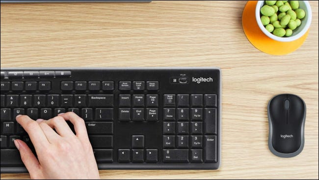 Logitech MK270 on desk with mouse