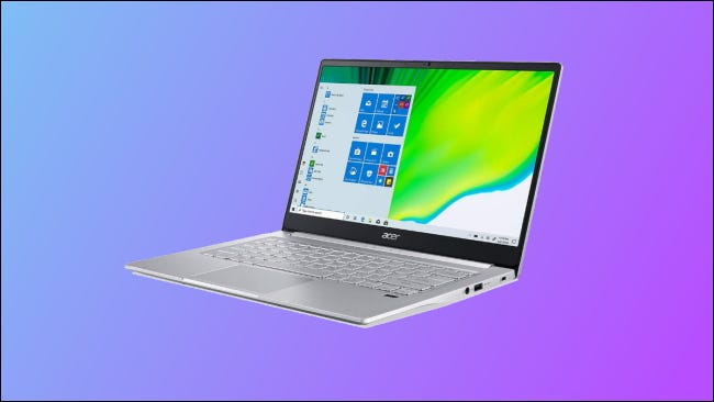 acer swift on blue and purple background