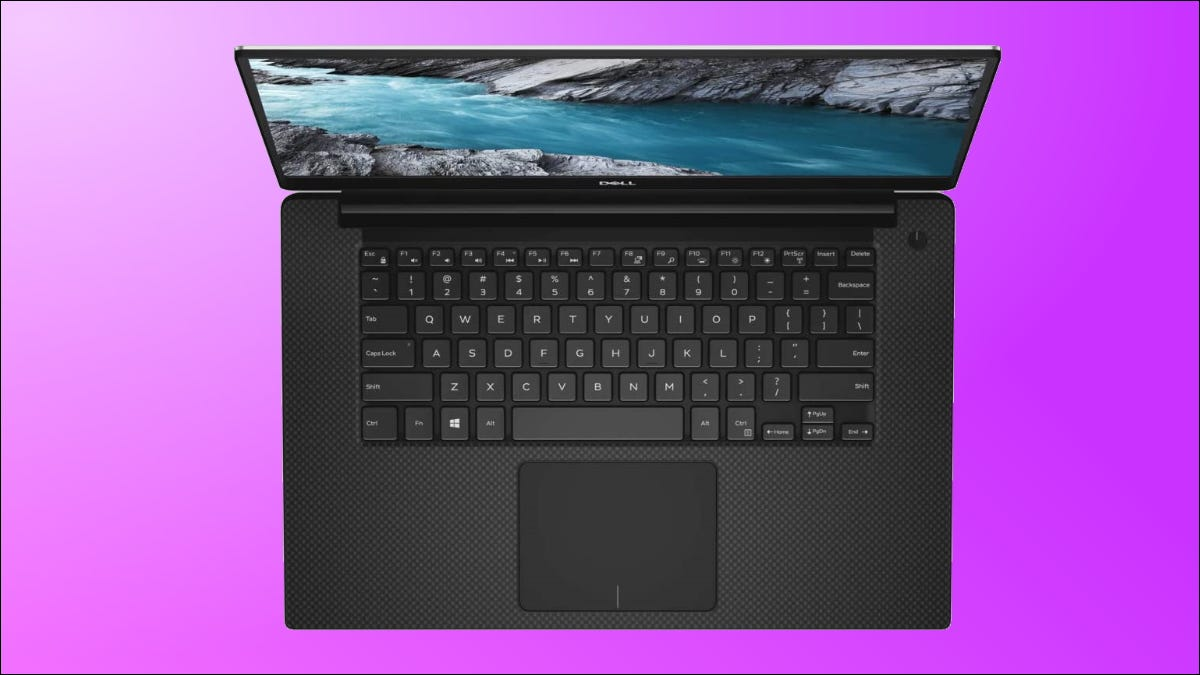 dell xps 15 on purple bakground