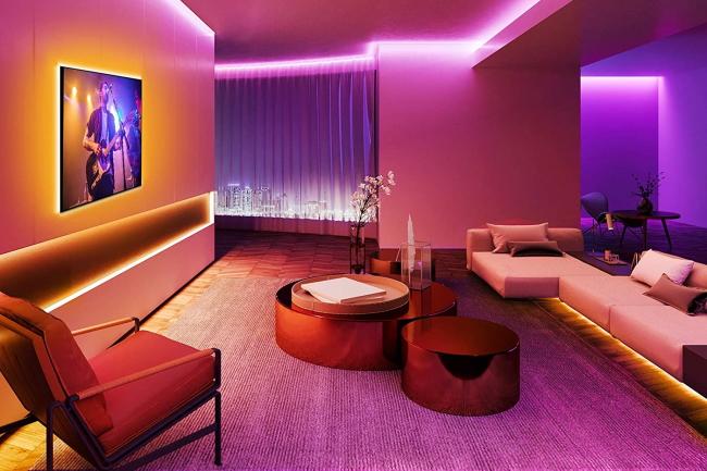 living room with govee lighting