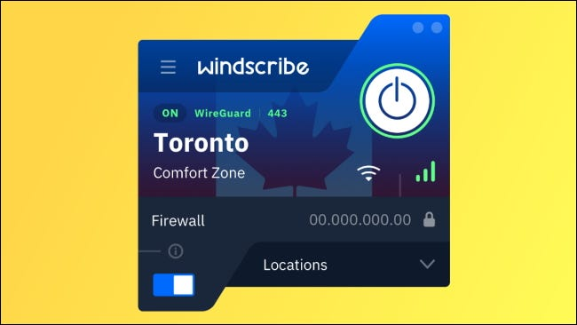 windscribe UI on yellow background