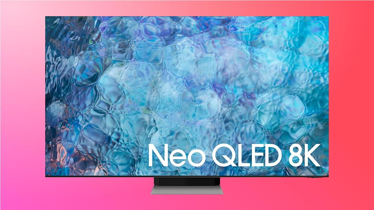 samsung qled 8k on pink background