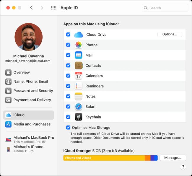 iCloud Preferences in Big Sur