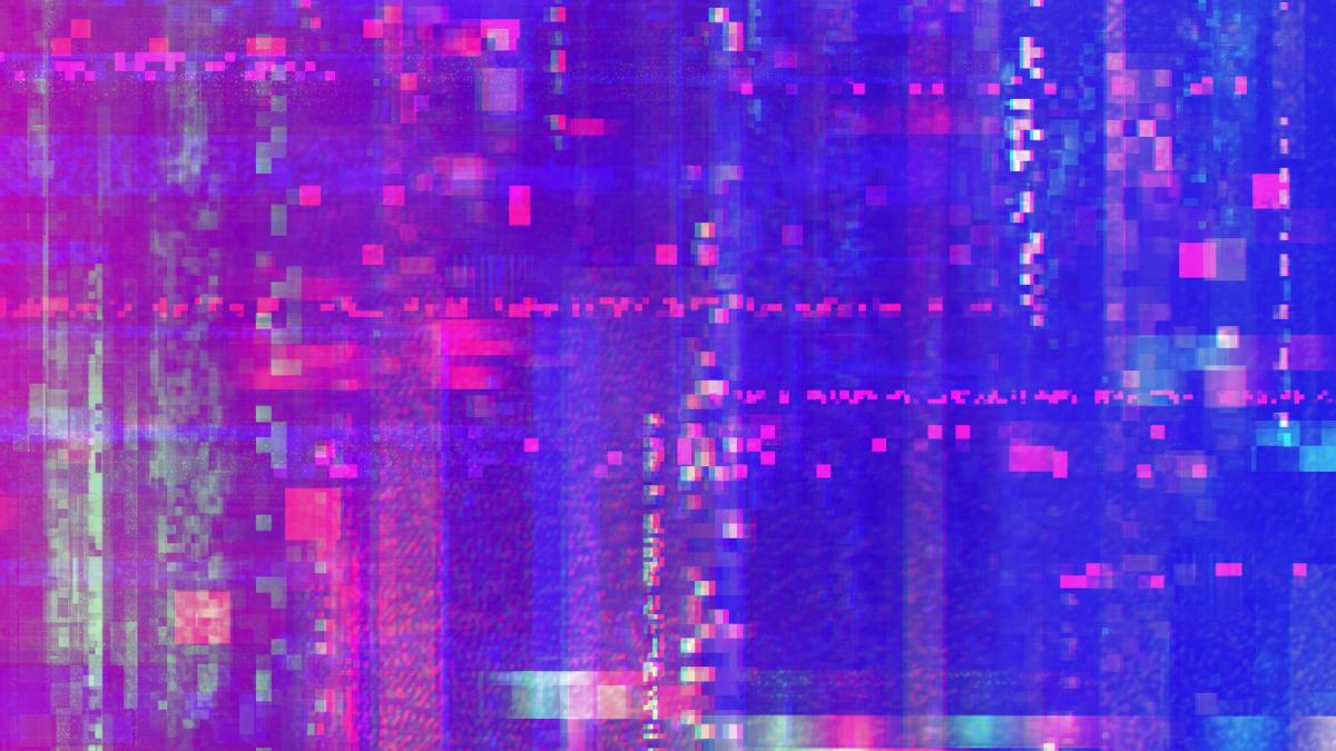 Розово-синий градиент с искаженными пикселями
