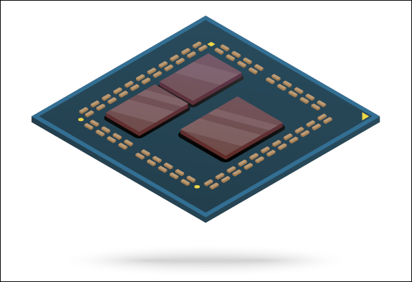 Interior design of a computer processor with chiplets