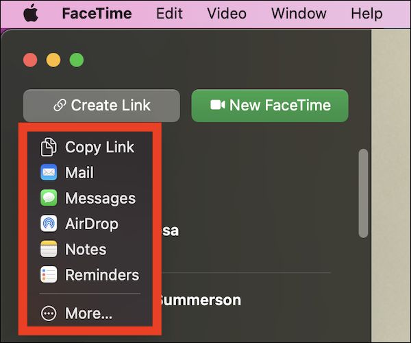 Choose how you would like to share the FaceTime link on your Mac