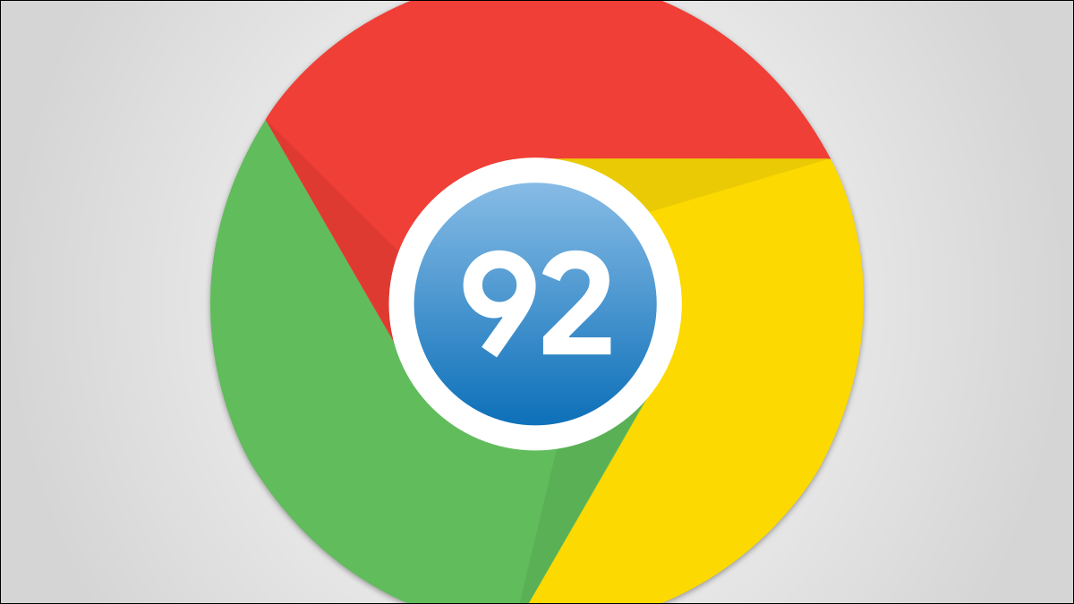 Google Chrome logo with 92 at the center