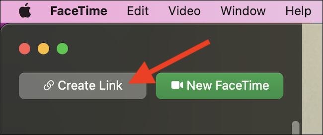 """Click the """"Create Link"""" button in FaceTime on Mac"""