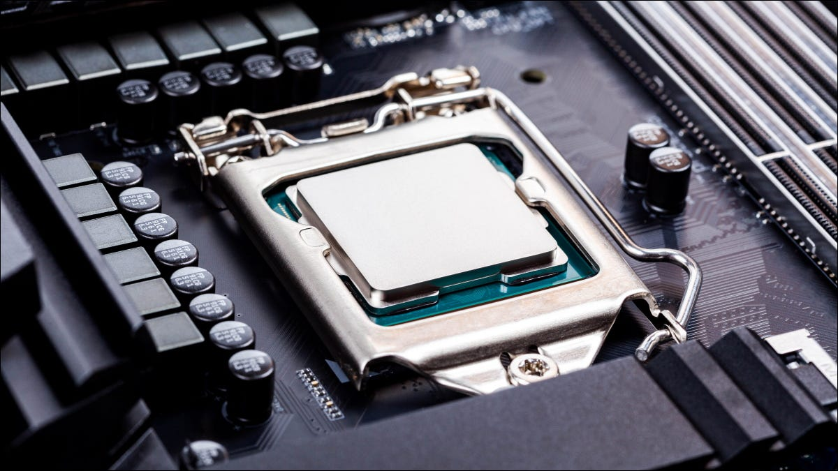 A CPU socketed into a gaming motherboard.